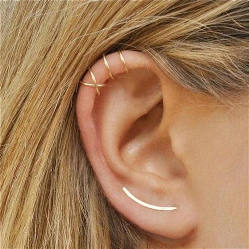 Korean fashion new simple cross ear clip double C cartilage U-shaped double pierced ear studs wholesale NHPF205771