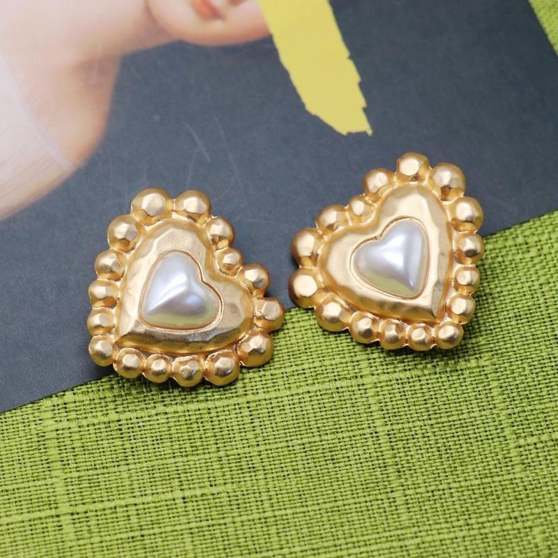 Matte Gold Heart 925 Silver Pin Retro Large Stud Earrings NHOM205775