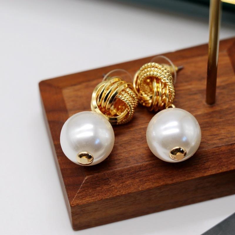 Metal buckle stud earrings NHOM205776