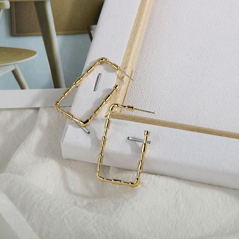 New jewelry popular earrings S925 silver pin C-shaped earrings bright gold bamboo simple fashion earrings NHQS205786