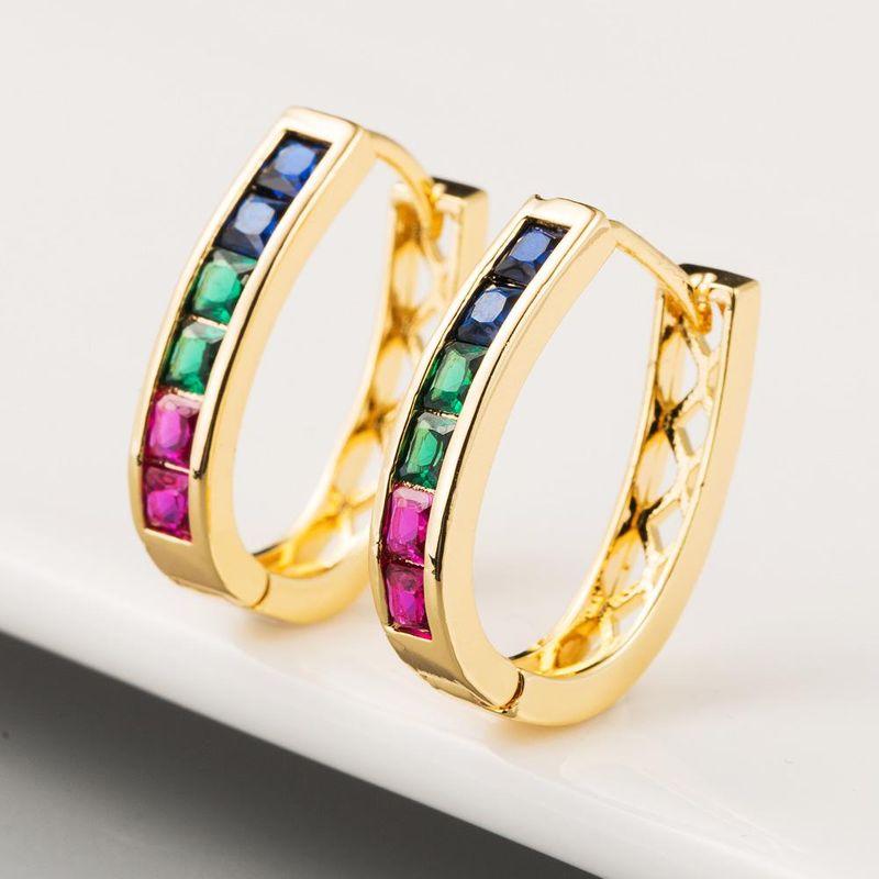 Korean earrings rainbow earrings copper inlaid zircon earrings gold plated gold jewelry wholesale NHLN205789