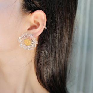 Korean S925 Silver Needle Simple Sunflower Transparent Resin Earrings Gold Foil Flower Earrings Fashion Earrings NHLN205794's discount tags