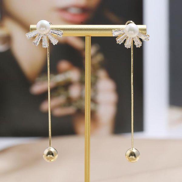 Nueva tendencia pendientes de diamantes moda creativa simple pendientes largos de borla al por mayor NHKQ205802