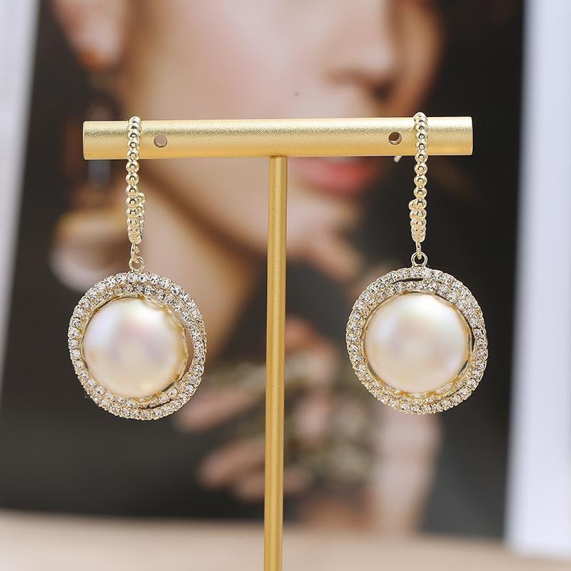 New S925 Silver Needle Geometric Round Pearl Earrings Korean Simple Wild Earrings Wholesale NHKQ205810