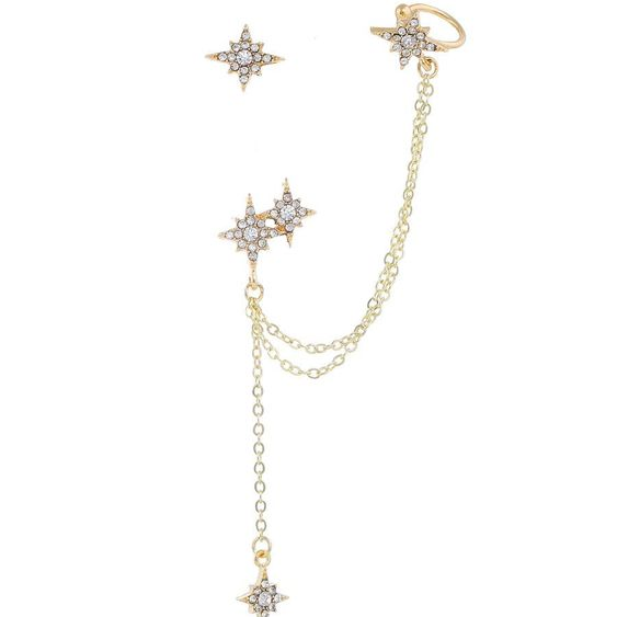 Korean new fashion diamond earrings simple asymmetric star earrings ear  clip chain earrings NHKQ205811