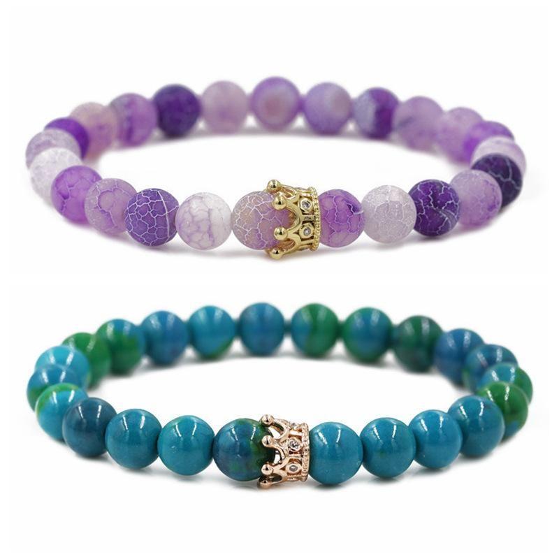 Phoenix Stone Weathered Crown Crown Couple Bracelet DIY Bracelet NHYL205813