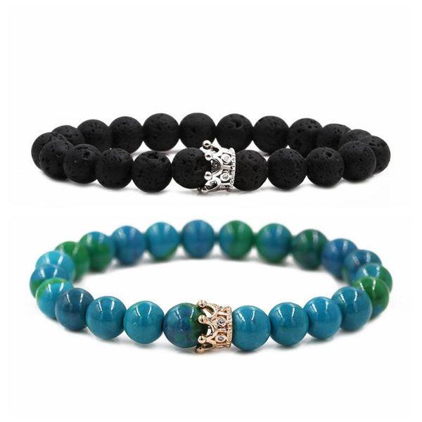Jewelry Phoenix Stone Black Frosted Stone Volcanic Crown Couple Bracelet DIY Bracelet NHYL205814