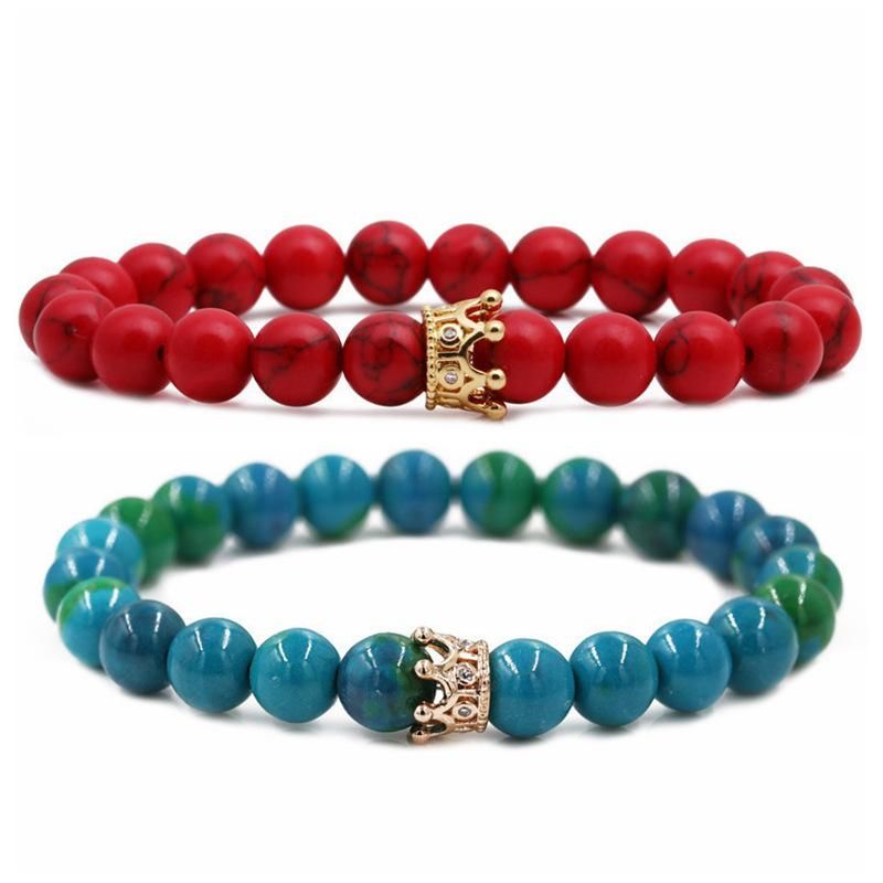 Jewelry Phoenix Stone Turquoise Crown Couple Bracelet DIY Bracelet NHYL205817