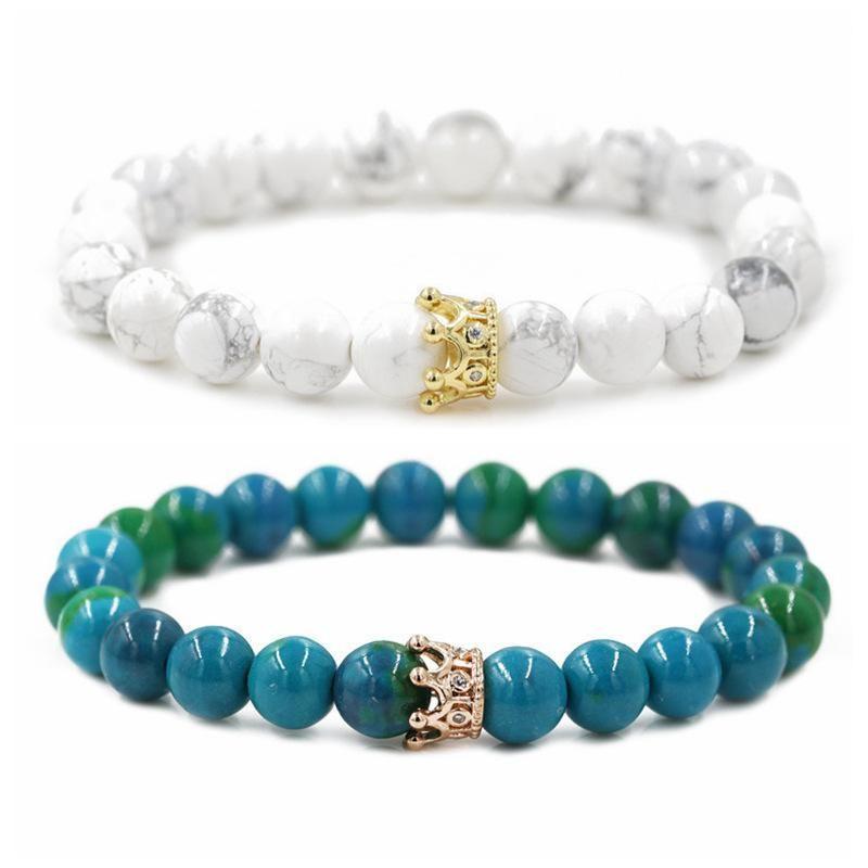 Jewelry Phoenix Stone White Turquoise Crown Couple Bracelet DIY Bracelet NHYL205818