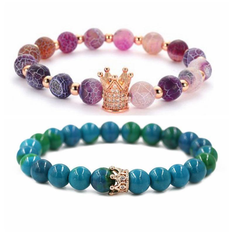 Jewelry Phoenix Stone Agate Stone Weathered Stone Crown Couple Bracelet DIY Bracelet NHYL205819