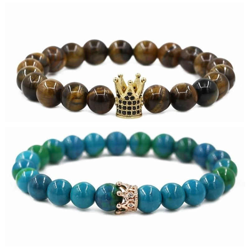 Jewelry Phoenix Stone Tiger Eye Stone Crown Couple Bracelet DIY Bracelet NHYL205820