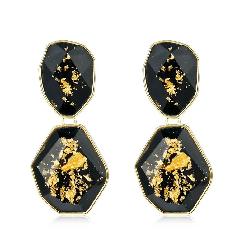 New Fashion Gold Foil Earrings Resin Color Earrings Acrylic Resin Earrings Wholesale NHGO205823