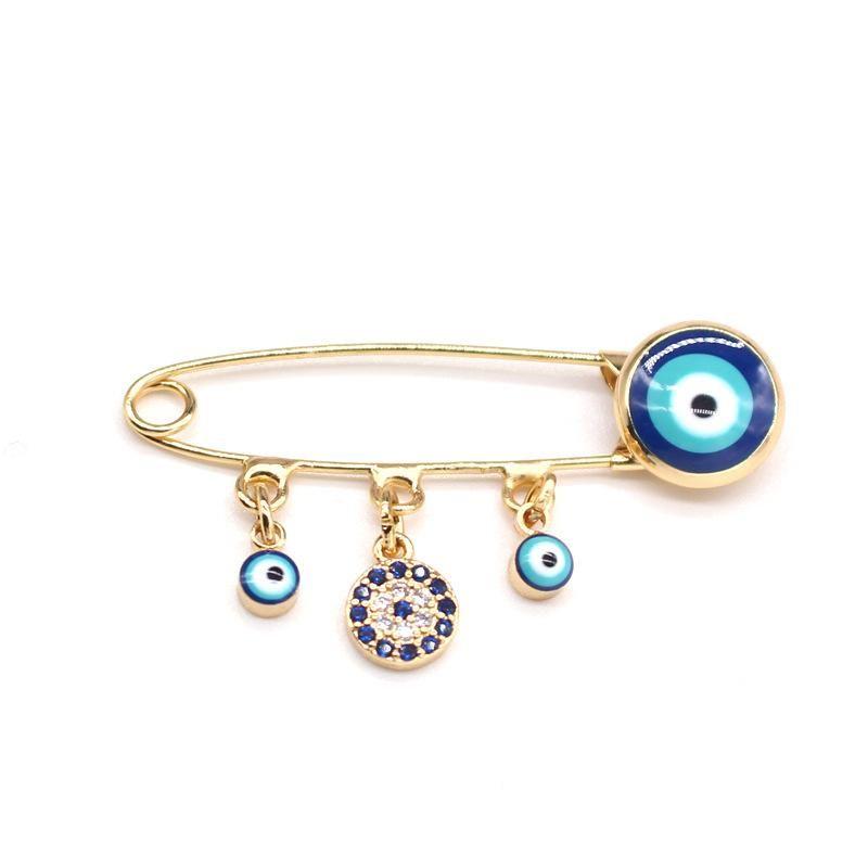 Blue eye brooch pendant pin badge eye brooch micro inlaid zircon collar pin NHGO205824