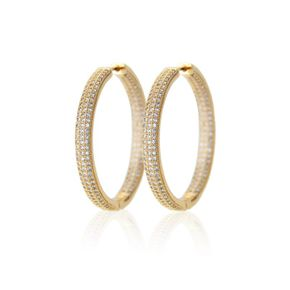 Copper plated on both sides with three rows of zirconium earrings NHBP205856