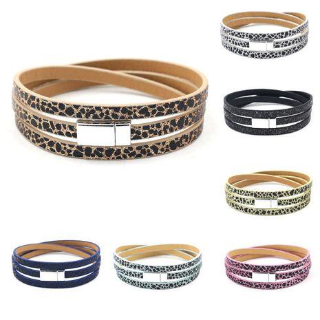 Multicouche léopard dot PU bracelet en cuir bracelet boucle magnétique bracelet en cuir femmes NHHM205862's discount tags