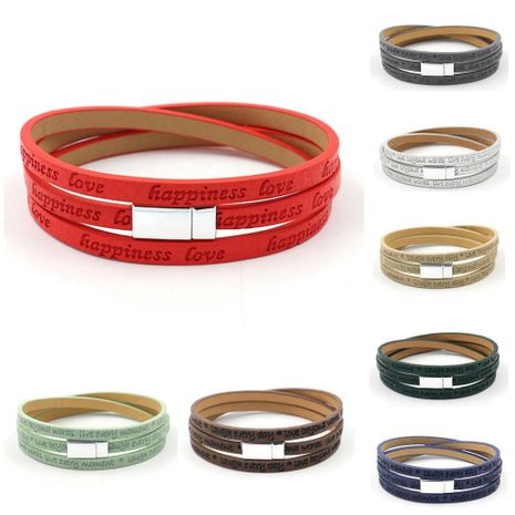 New fashion leather strip lettering embossed bracelet magnetic buckle multilayer printed PU leather multilayer bracelet NHHM205863's discount tags
