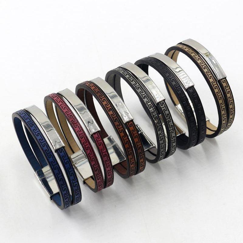 Vintage Faux Leather Double Bracelet Faux Leather Bracelet 6 Colors Available NHHM205865