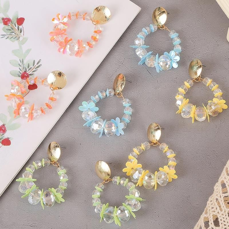 Korean round handmade transparent acrylic earrings geometric flowers earrings jewelry wholesale NHLA205866