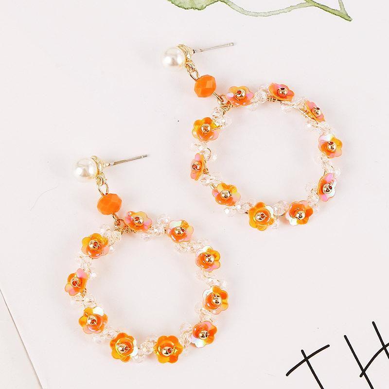 Korean silver needle cute hand-woven crystal flower earrings round colored pearl earrings jewelry NHLA205867