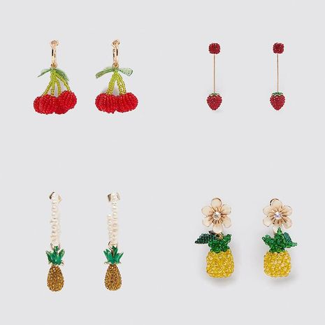New exaggerated handmade rice beads cherry pineapple earrings creative cute fruit acrylic earrings NHLA205868's discount tags