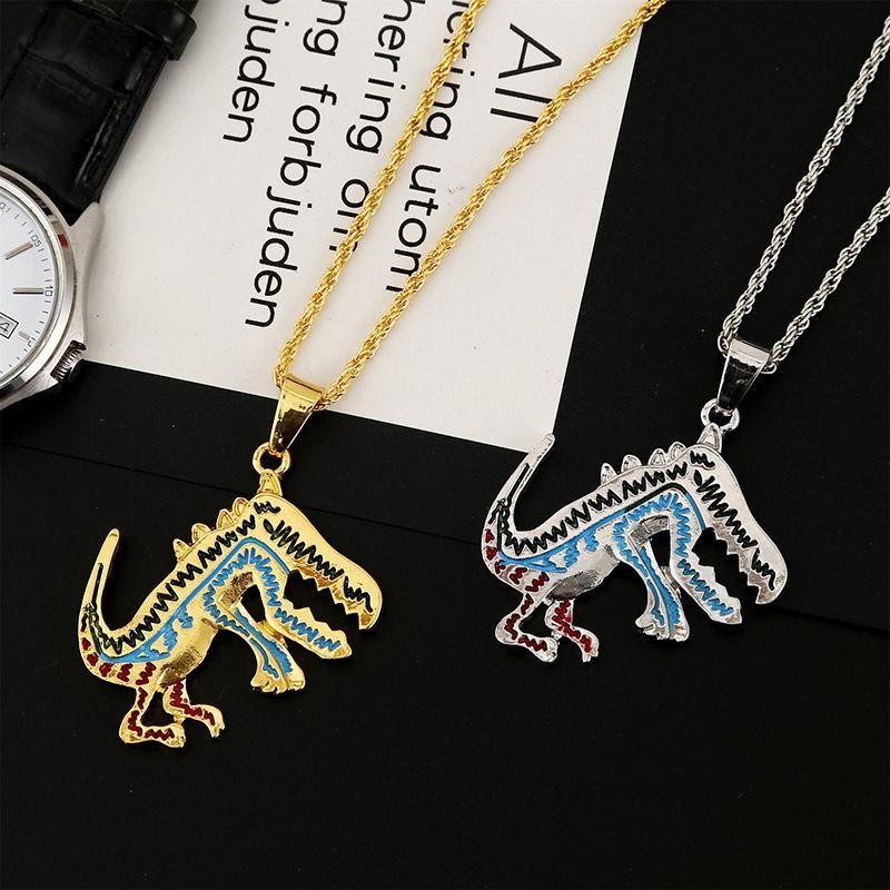 Dripping alloy dinosaur hip-hop necklace Korean creative cute animal jewelry wholesale NHLA205870
