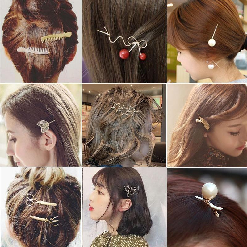 Wholesale alloy scissors comb leaf pearl word clip edge clip spiral clip cheap headdress NHDQ205881