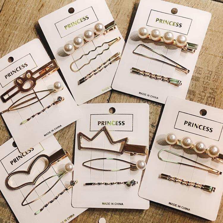 Korean Pearl Hair Clip Metal Clip Girl Hairpin Sweet Hair Accessories Headdress Cheap Set Wholesale NHDQ205886
