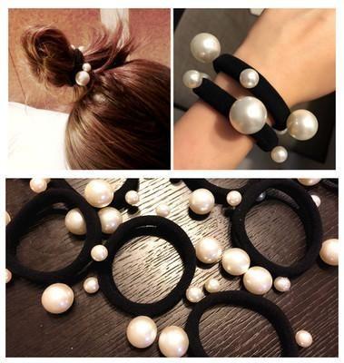 Korean jewelry seam-free pearl towel ring hair rope tied hair like rubber band Yiwu Wholesale NHDQ205890