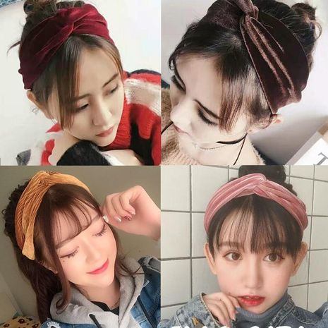 Korean simple solid color gold velvet cross hair band elastic elastic retro sweet headband hair band wholesale NHDQ205893's discount tags