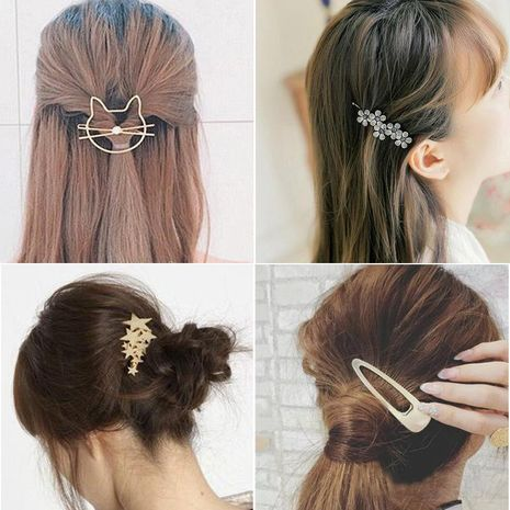 New fashion wild bow pearl metal hair clip side clip alloy cheap hair accessories wholesale NHDQ205894's discount tags