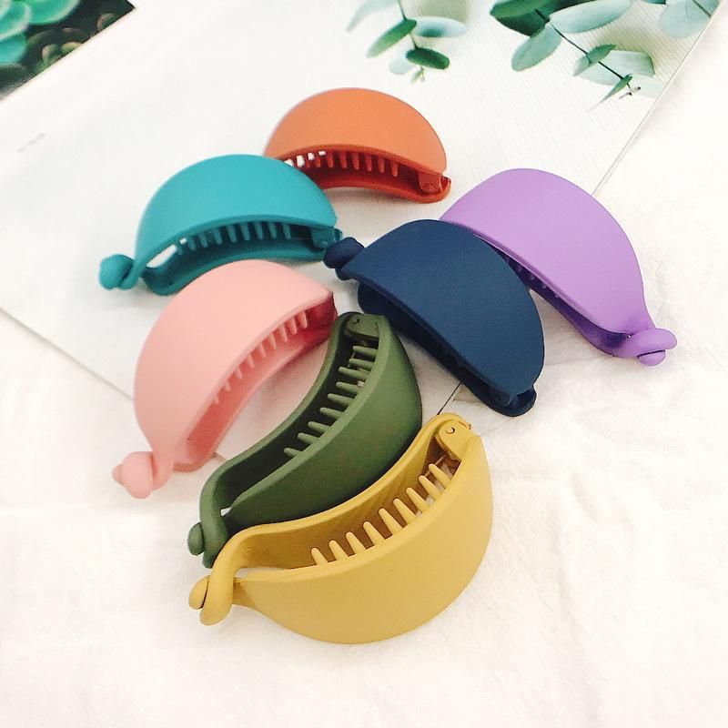 Korean hair clip frosted horizontal clip wild grab clip solid color curved button clip simple cheap hair accessories women wholesale NHDQ205895