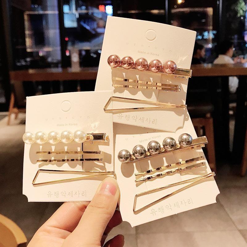 Pearl set suit hair clip wild metal edge clip bangs clip headdress simple cheap word clip women wholesale NHDQ205897