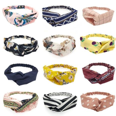 Spring New Hair Accessories Pure Color Fabric Floral Stripe Cross Hair Band Wholesale NHDQ205900's discount tags