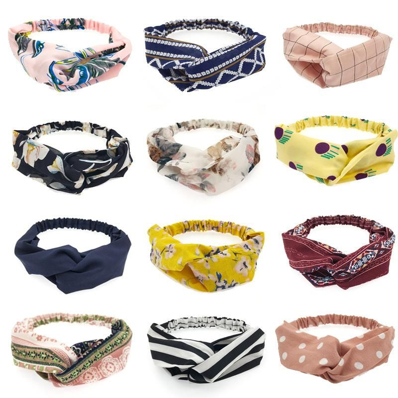 Spring New Hair Accessories Pure Color Fabric Floral Stripe Cross Hair Band Wholesale NHDQ205900