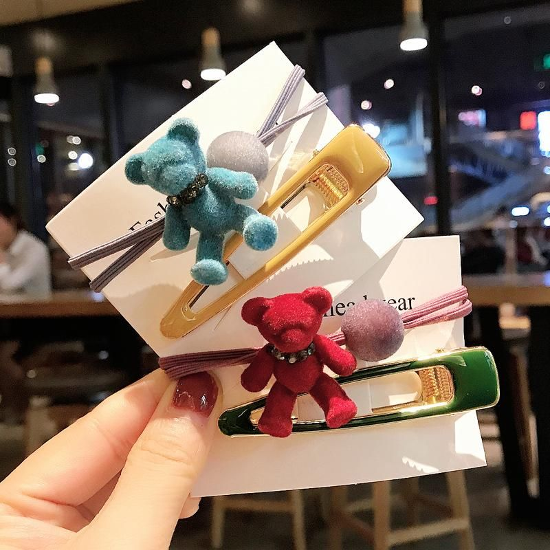 2 little bear hair rope cute little girl hair clip side clip cheap cartoon headdress wholesale NHDQ205903