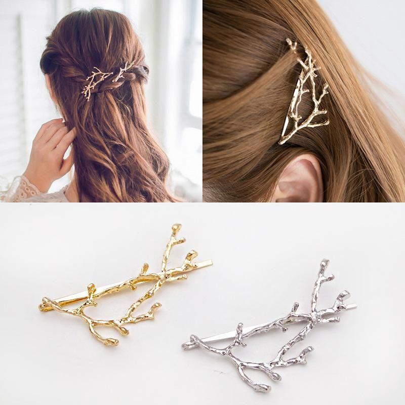 Korean hair jewelry antlers branches alloy edge clip side clip hair clip fashion cheap word clip wholesale NHDQ205904