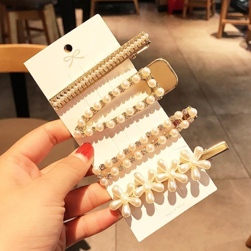 New fashion cute sweet pearl cheap hair clip 4 piece hair clip wholesale NHDQ205905