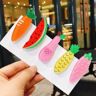 Children's sweet fruit hairpin headdress Korean girl heart color sequins transparent side clip BB clip hair accessories female NHDQ205912's discount tags