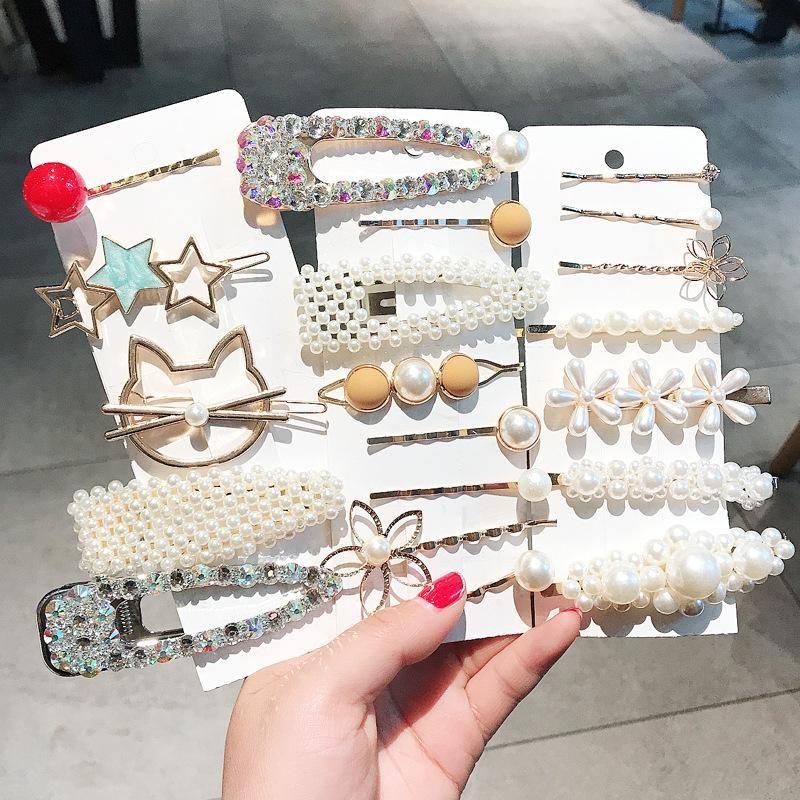 6-piece pearl top clip headdress simple hairpin female side clip Korea cheap hair accessories wholesale NHDQ205919