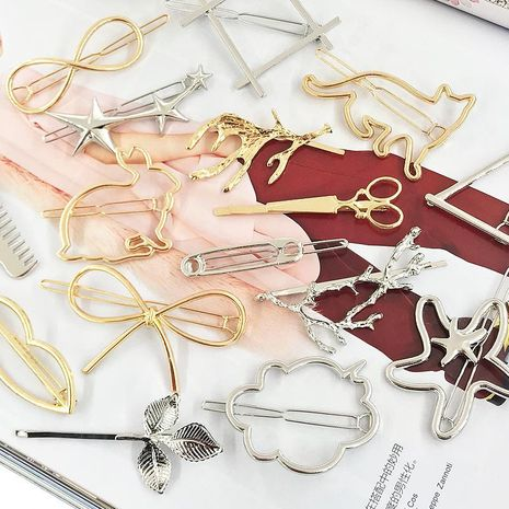 6-piece combination simple metal hair clip geometry alloy edge clip word clip female hair accessories NHDQ205922's discount tags