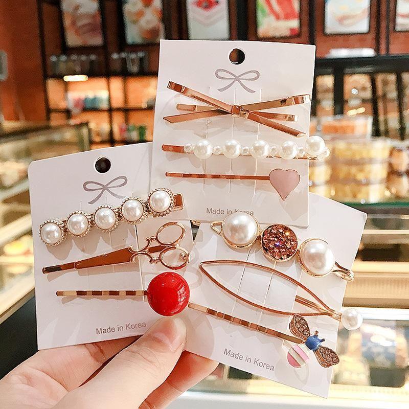 Korean retro metal pearl love word clip set sweet geometric alloy hair clip cheap edge clip women NHDQ205925