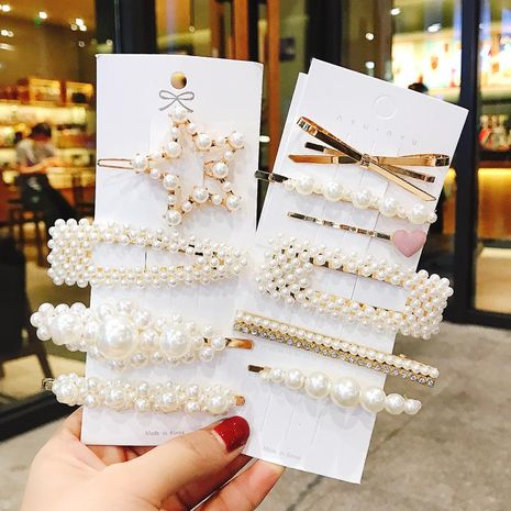 Ten sets of pearl hair clip net red bb clip hairpin female Korean new side clip cheap word clip wholesale NHDQ205927's discount tags