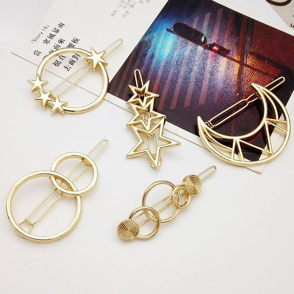 Wholesale New Fashion Simple Hollow Pentagram Star Moon Geometry Hair Clip Metal Cheap Side Clip Wholesale NHDQ205928