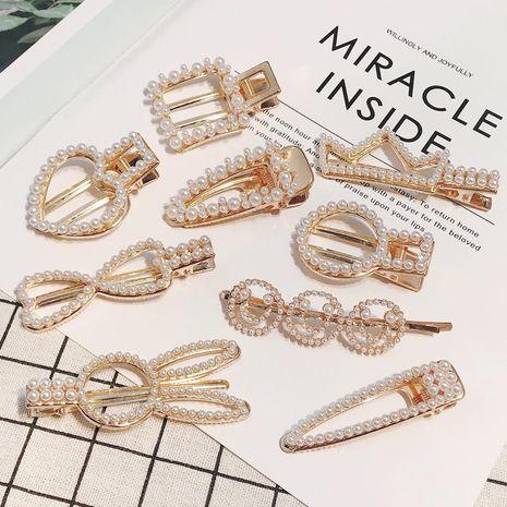 Korean rabbit crown hair accessories new pearl rhinestone hair clip super fairy alloy duck duck clip wholesale NHDQ205931's discount tags