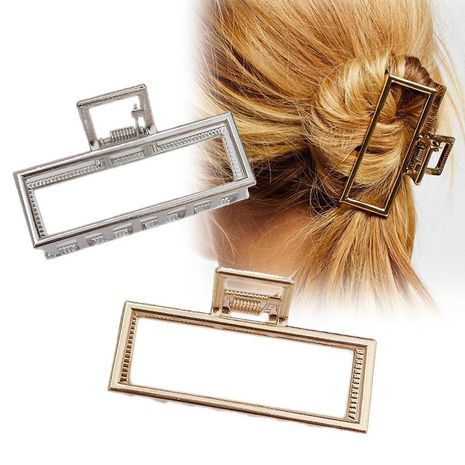 Retro metal medium large square grab clip hair clip top clip Korea simple cheap hair clip wholesale NHDQ205932's discount tags