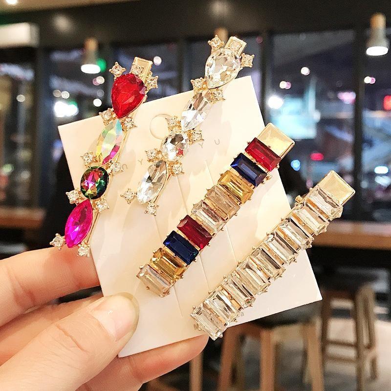Fashion wild color diamond hair clip set word clip wild elegant geometric cheap hairpin women wholesale NHDQ205934