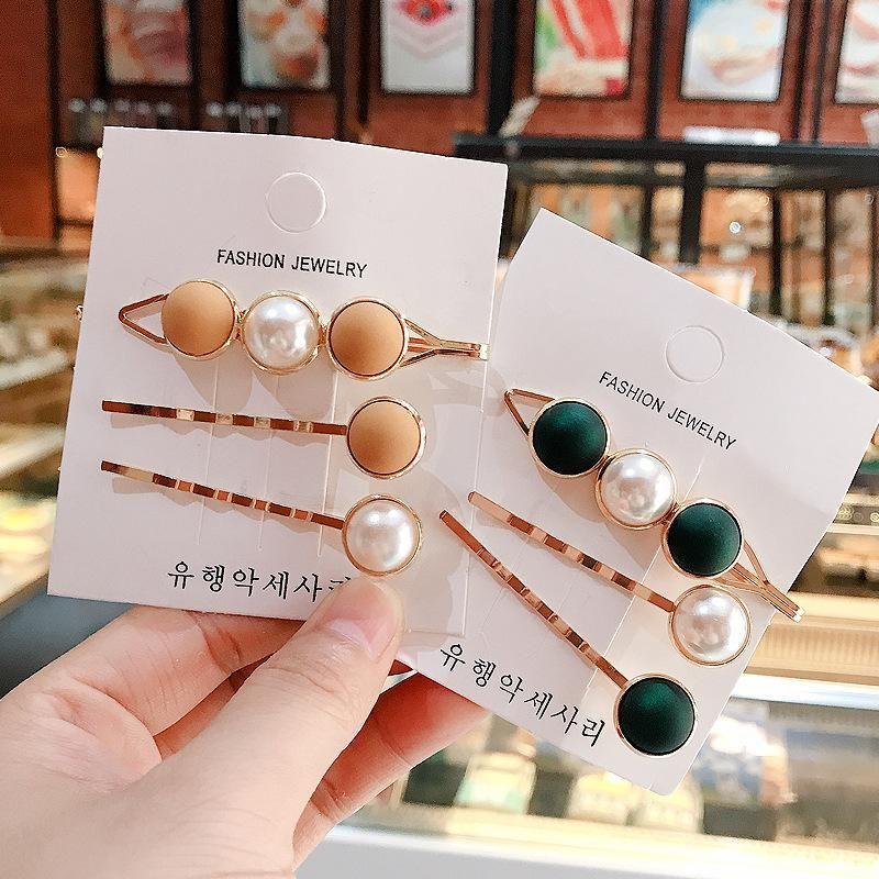 Japan and South Korea small fresh three-piece combo hair clip pearl hair clip edge clip headdress girl back head hair accessories net red NHDQ205936