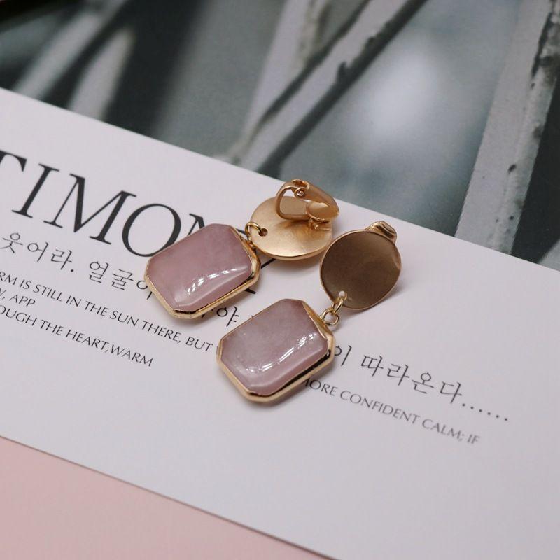 Gold rim stone earrings ear clip natural square stone earrings vintage court style stone ear clips NHOM205774