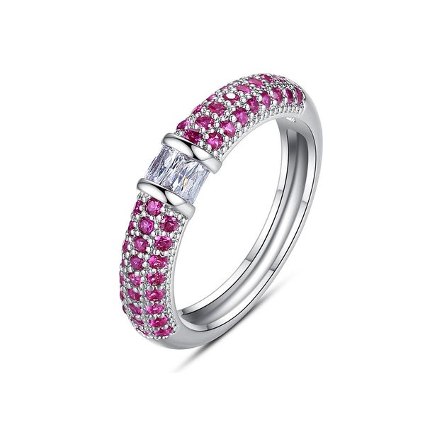 New Fashion Simple Colored Copper Inlaid Zirconium Ring Wholesale NHTM205837