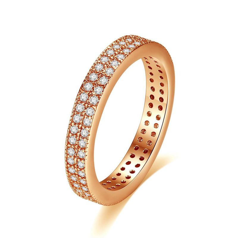 New fashion ladies wild simple full diamond double row ring wholesale NHTM205836